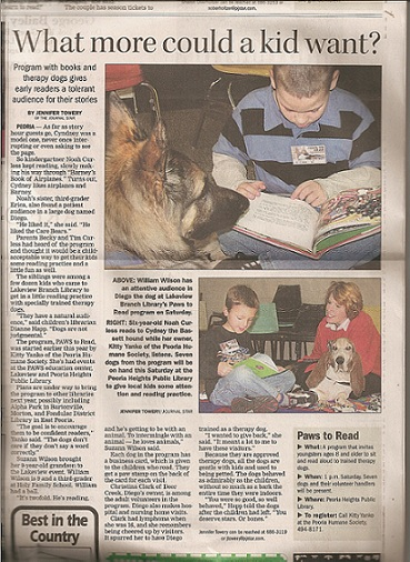 - Diego - In the paper for Therapy Dogs